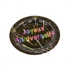 """Petites assiettes """"Joyeux anniversaire"""" feux d'artifice"""