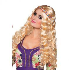 Perruque Hippie Blonde Femme Avec Bandeau