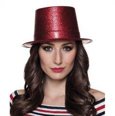 Chapeau en Plastique à Paillettes Rouge