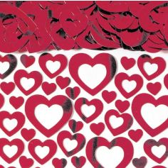 Confettis Cœurs Ajourés Rouges - 14 gr
