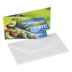 6 Cartes d'Invitation avec Enveloppes Tortues Ninja