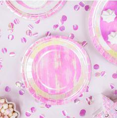 6 Assiettes - Rose Iridescent - 18 cm
