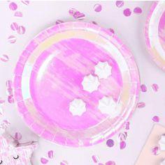 6 Assiettes - Rose Iridescent - 23 cm