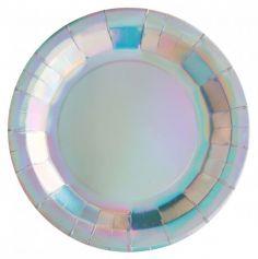 Lot de 10 assiettes Holographiques - carton| jourdefete.com