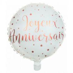 Ballon en aluminium Métallisé Joyeux Anniversaire Rose Gold - 45 cm