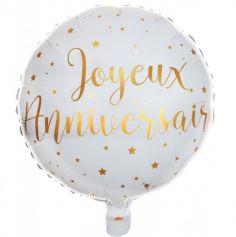 Ballon Anniversaire - Blanc et Or - Joyeux Anniversaire | jourdefete.com