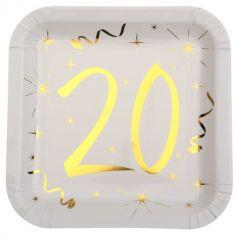 10 Assiettes en Carton Anniversaire - Blanc et Or - 20 ans | jourdefete.com