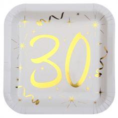 10 Assiettes en Carton Anniversaire - Blanc et Or - 30 ans | jourdefete.com