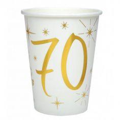 10 Gobelets en Carton Anniversaire - Blanc et Or - 70 ans | jourdefete.com