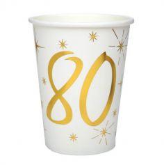 10 Gobelets en Carton Anniversaire - Blanc et Or - 80 ans | jourdefete.com