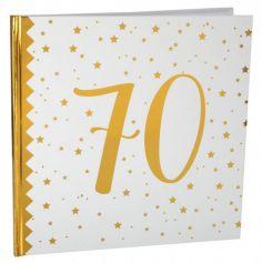Livre d'Or Anniversaire - Blanc et Or - 70 ans | jourdefete.com