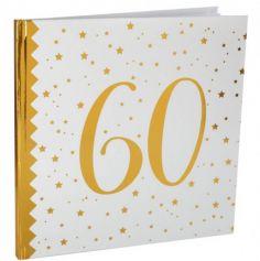Livre d'Or Anniversaire - Blanc et Or - 60 ans | jourdefete.com