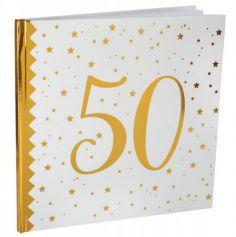 Livre d'Or Anniversaire - Blanc et Or - 50 ans | jourdefete.com