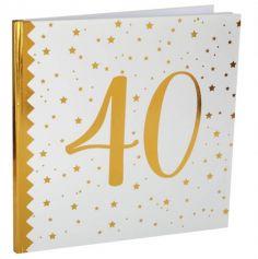 Livre d'Or Anniversaire - Blanc et Or - 40 ans | jourdefete.com
