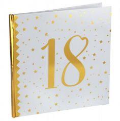 Livre d'Or Anniversaire - Blanc et Or - 18 ans | jourdefete.com