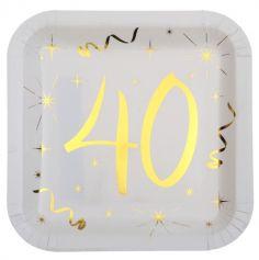 10 Assiettes en Carton Anniversaire - Blanc et Or - 40 ans | jourdefete.com