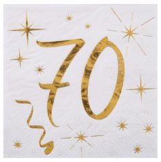 20 Serviettes en Papier Anniversaire - Blanc et Or - 70 ans | jourdefete.com