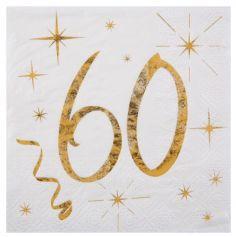 20 Serviettes en Papier Anniversaire - Blanc et Or - 60 ans | jourdefete.com