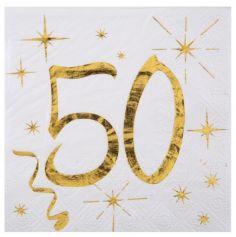 20 Serviettes en Papier Anniversaire - Blanc et Or - 50 ans | jourdefete.com