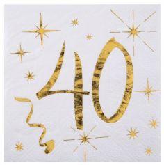 20 Serviettes en Papier Anniversaire - Blanc et Or - 40 ans | jourdefete.com