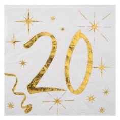 20 Serviettes en Papier Anniversaire - Blanc et Or - 20 ans | jourdefete.com