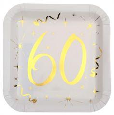 10 Assiettes en Carton Anniversaire - Blanc et Or - 60 ans | jourdefete.com
