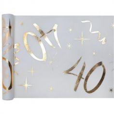Chemin de Table Anniversaire - Blanc et Or - 40 ans | jourdefete.com