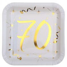10 Assiettes en Carton Anniversaire - Blanc et Or - 70 ans | jourdefete.com