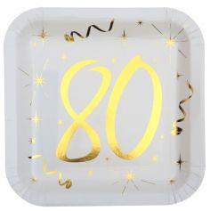 10 Assiettes en Carton Anniversaire - Blanc et Or - 80 ans | jourdefete.com