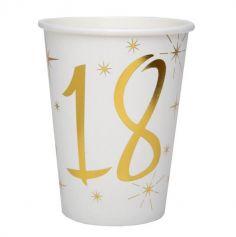 10 Gobelets en Carton Anniversaire - Blanc et Or - 18 ans | jourdefete.com