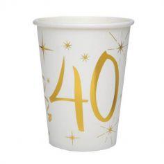 10 Gobelets en Carton Anniversaire - Blanc et Or - 40 ans | jourdefete.com