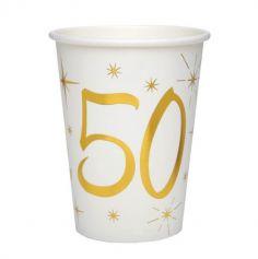 10 Gobelets en Carton Anniversaire - Blanc et Or - 50 ans | jourdefete.com