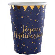 "10 Gobelets en Carton ""Joyeux Anniversaire"" Bleu Marine Métallisé | jourdefete.com"