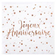 20 Serviettes Joyeux Anniversaire - Métal Rose Gold
