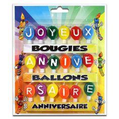 Bougies ballons joyeux anniversaire