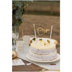 Décoration de Gâteau - Just Married - Or