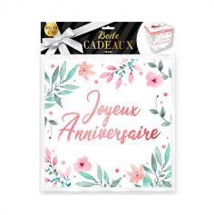 boite cadeau joyeux anniversaire fleurs grand modele | jourdefete.com