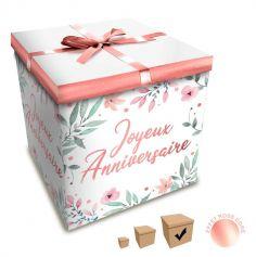 Boîte Cadeau Joyeux Anniversaire - Fleurs - 30 x 30 cm