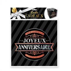 boite cadeau noire joyeux anniversaire grand modele | jourdefete.com