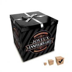 Boîte Cadeau Joyeux Anniversaire Noire - 30 x 30 cm