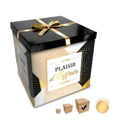 Boîte Cadeau Plaisir d'Offrir - Noir et Or - 30 x 30 cm