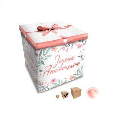 Boîte Cadeau Joyeux Anniversaire - Fleurs - 20 x 20 cm