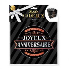 boite cadeau noire joyeux anniversaire moyen modele | jourdefete.com