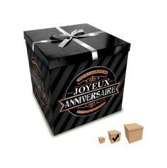 Boîte Cadeau Joyeux Anniversaire Noire - 20 x 20 cm