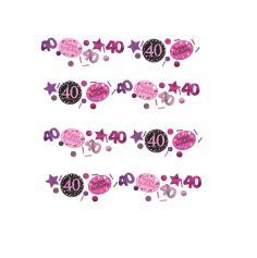 Trio de Confettis 40 Ans - Rose / Noir