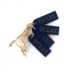 4 Etiquettes en Bois Bleu Marine - Océan