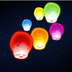"""Paquet de 6 lanternes volantes """"ballon"""" - Multicolore"""