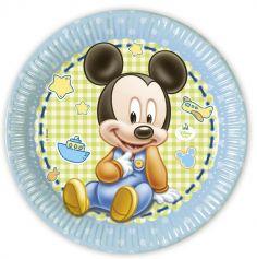Lot de 8 Assiettes en Carton Bébé Mickey - Diamètre 23 cm