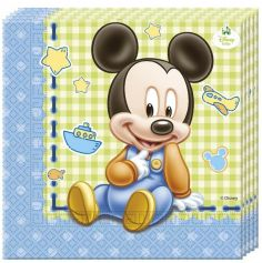 Lot de 20 Serviettes en Papier - Bébé Mickey Disney