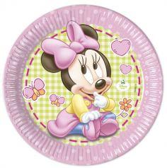 Lot de 8 Assiettes en Carton Bébé Minnie - Diamètre 23 cm